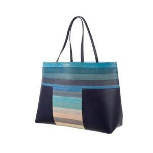 Tory Burch Blue Block-T Stripe Tote Bag